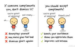 chi bird compliments accepting