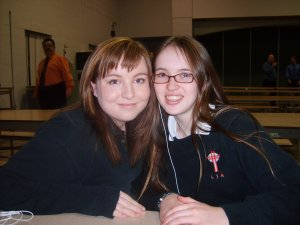 Cassie and I in the cafeteria.